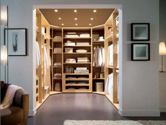 Walk in closet con forma de U