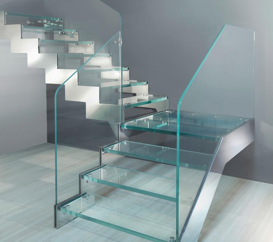 Escaleras de cristal temperado